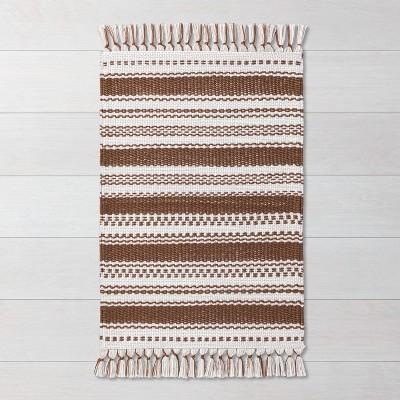 2' x 3' Variegated Stripe with Tassel Fringe Rug Pumpkin Brown - Hearth & Hand™ with Magnolia