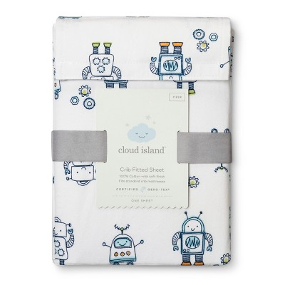 Fitted Crib Sheet Robots - Cloud Island™ Blue