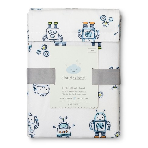 Fitted Crib Sheet Robots - Cloud Island™ Blue - image 1 of 2