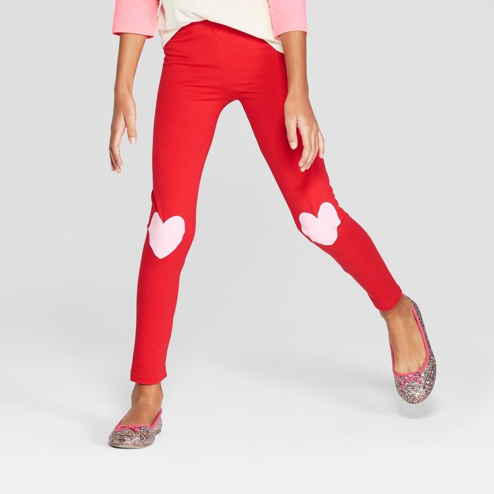 Girls' Valentine's Day Leggings - Cat & Jack Red S