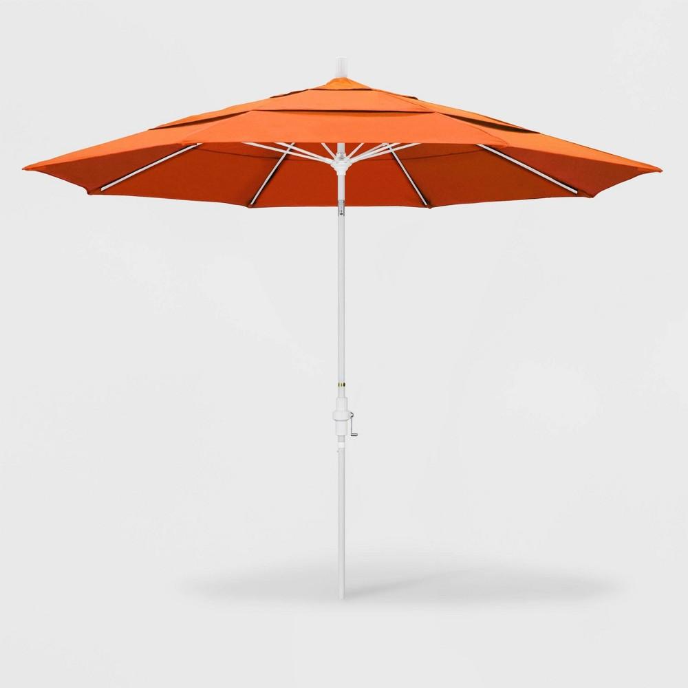 Image of 11' Sun Master Patio Umbrella Collar Tilt Crank Lift - Sunbrella Tangerine - California Umbrella