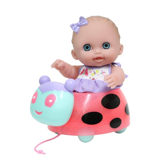 "JC Toys Lil' Cutesies 8.5"" All Vinyl Baby Doll with Ladybug Pull-Along image number null"