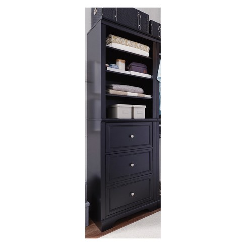 Bedford Drawer Closet Wall Unit - Satin Black - Home Styles - image 1 of 3