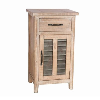 Storage Accent Cabinet with Drawer and Metal Insert Door Large Brown - The Urban Port