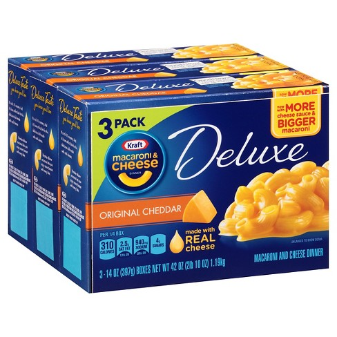 Kraft Deluxe Original Cheddar Macaroni & Cheese Dinner - 3pk - image 1 of 1