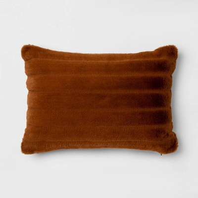 Oblong Channeled Faux Fur Throw Pillow Bronze - Project 62™ + Nate Berkus™