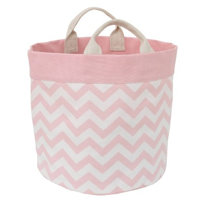 NoJo Little Love Canvas Reversible Storage Tote with Handles - Pink/White Chevron