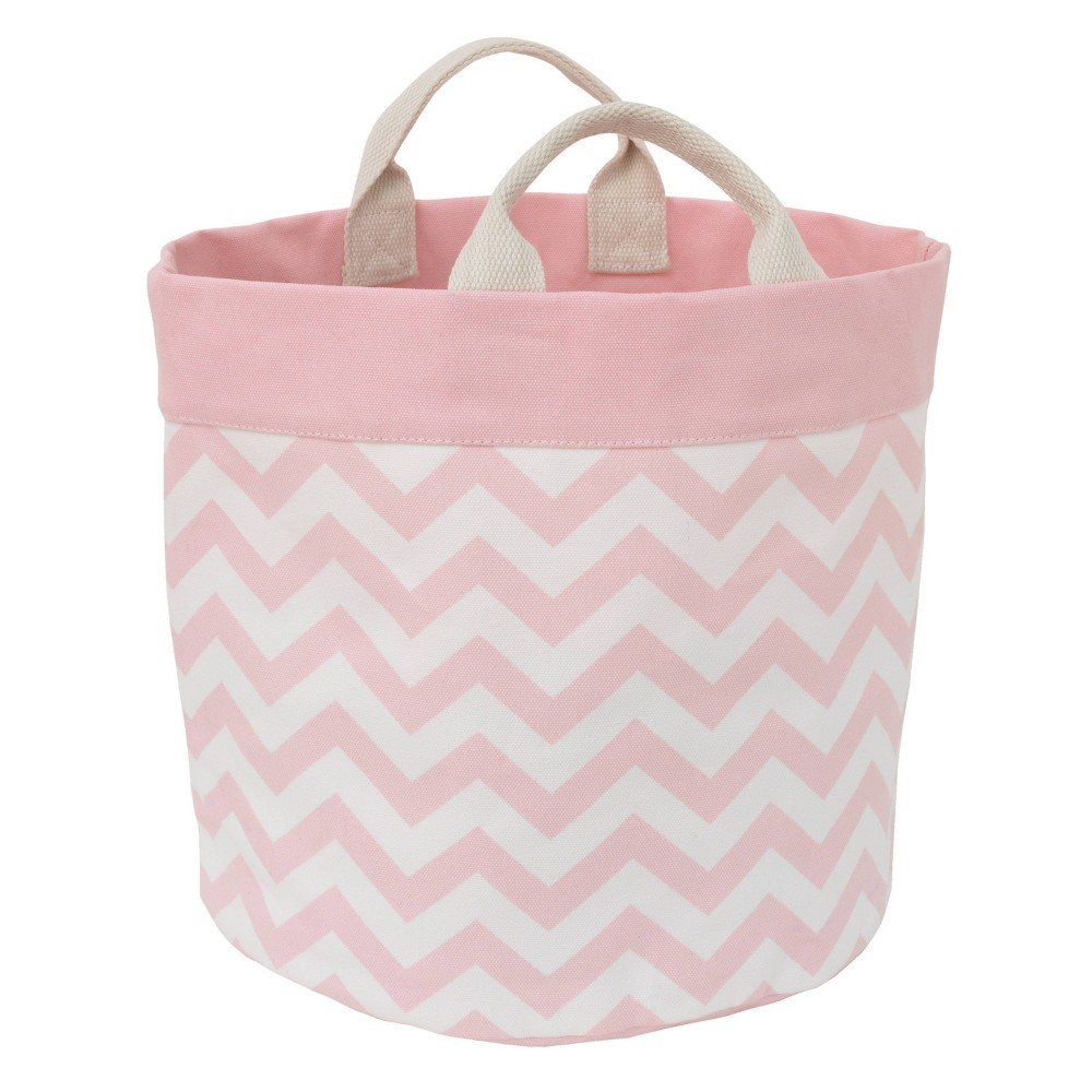 Image of NoJo Little Love Canvas Reversible Storage Tote with Handles - Pink/White Chevron