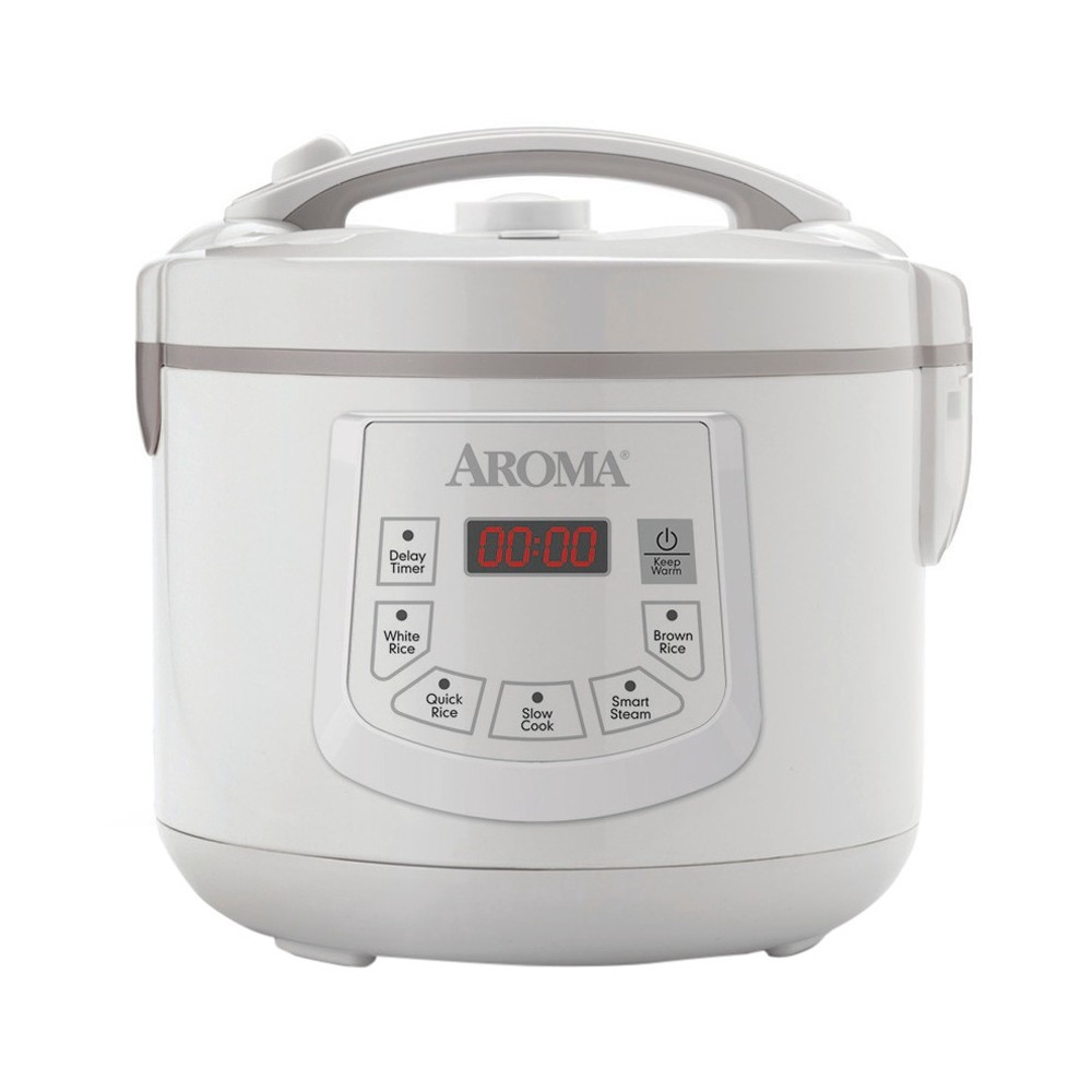 Aroma 12 Cup Digital Rice Cooker and Food Steamer, White Now you can make restaurant-quality white and brown rice, healthy steamed meals and hearty soups and stews with the Aroma 12-cup digital rice cooker and food steamer. This Aroma 12-cup rice cooker prepares 4 to 12 cooked cups of any type of rice. It has specialized functions for white rice and brown rice. The included steam tray allows for meats and vegetables to be steamed while rice cooks below for easy, 1-pot meals. The programmable 15-hour delay timer allows for rice and water to be added in the morning and programmed to have it hot and ready when it's needed at night. When the cooking is done, the non-stick inner cooking pot and all accessories remove for quick and easy cleaning in the dishwasher.