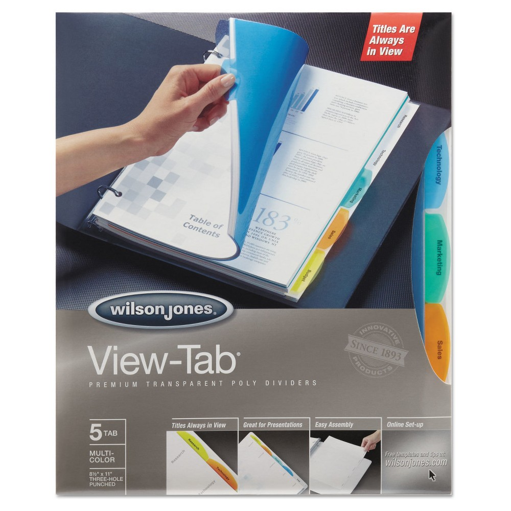 Image of Wilson Jones View-Tab Index Dividers with 5 Tab, Letter - Assorted (5 Sets Per Box)
