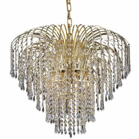 Elegant Lighting 6801d25g Falls 6 Light Crystal Chandelier Finished In Gold