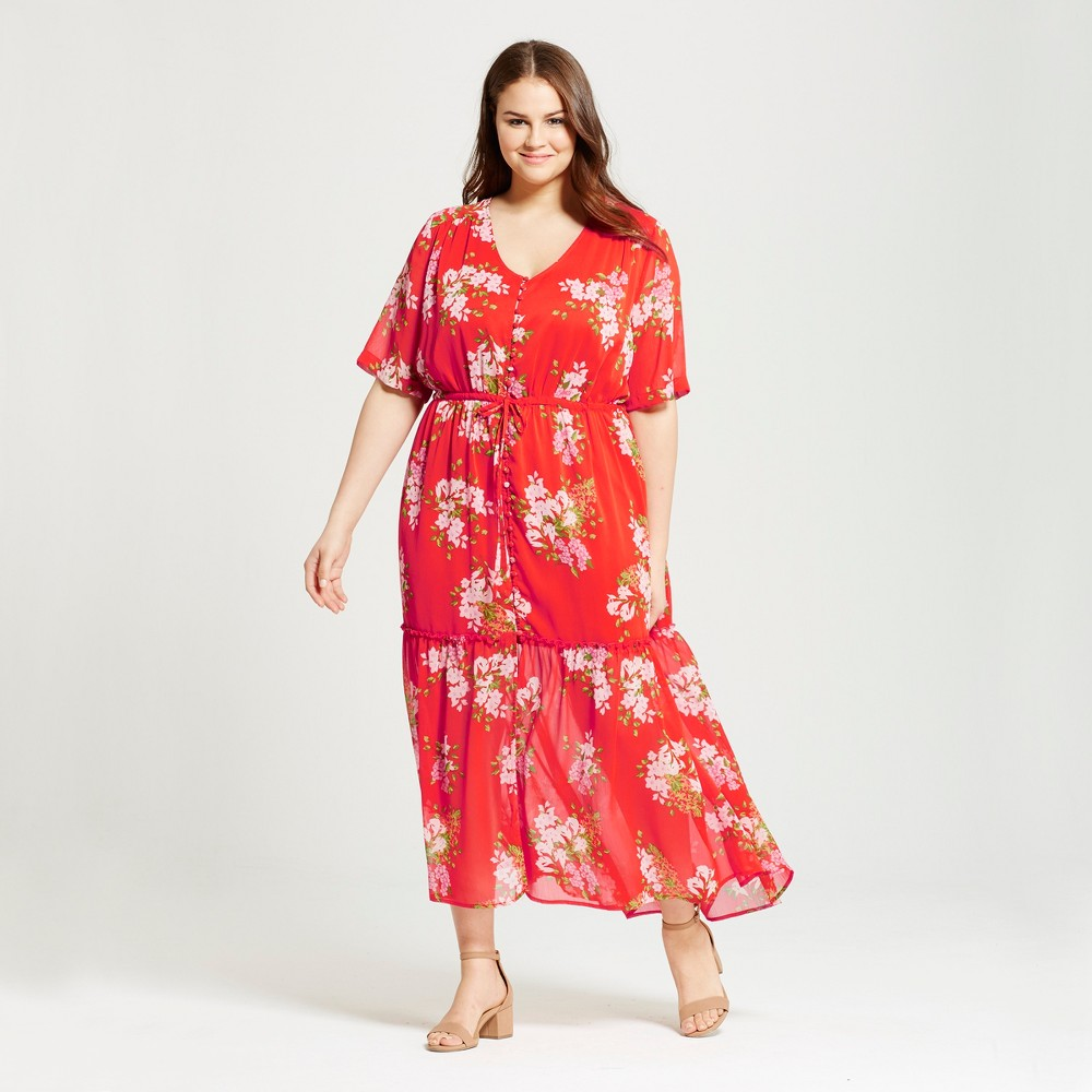 Women's Plus Size Tiered Maxi Dress - Who What Wear Red Floral 3X