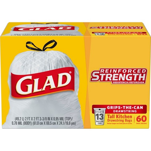 Glad Tall Kitchen Drawstring Trash Bags - 13 Gallon - 60ct - image 1 of 7