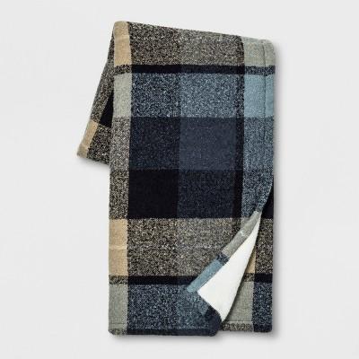 60 x50  Plaid Boucle Throw Blanket Blue - Threshold™