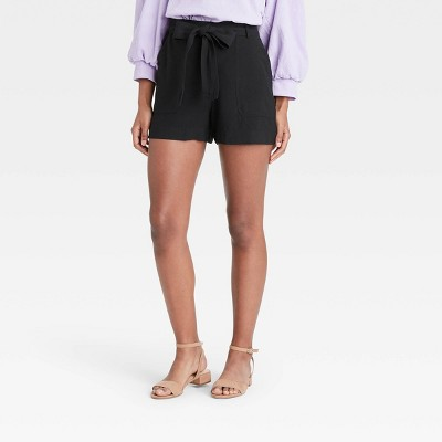 Women's High-Rise Tie Waist Shorts - A New Day™
