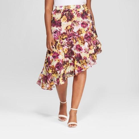 a84ba881a8a Women s Plus Size Floral Ruffle Skirt - Ava   Viv™ Berry 1X   Target