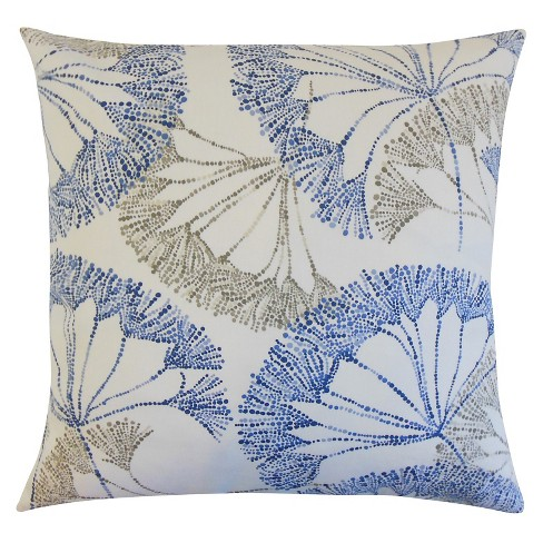"Blue Floral Throw Pillow Zen (18""x18"") - The Pillow Collection - image 1 of 2"