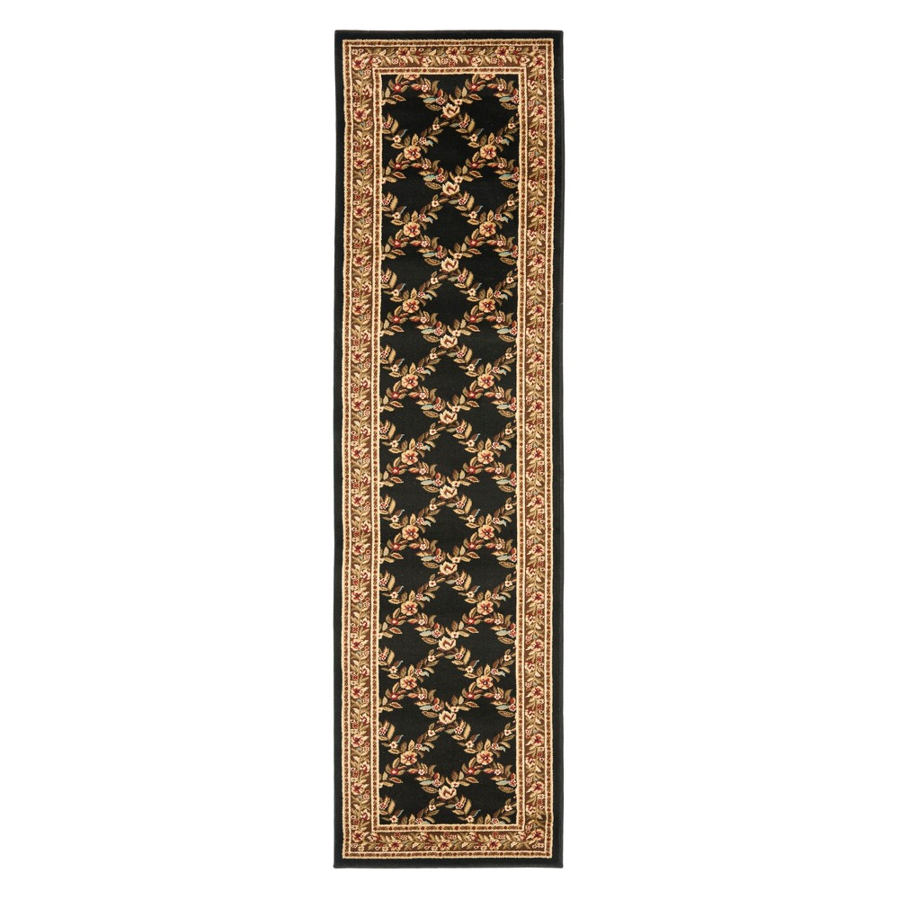 2'3X16' Floral Loomed Runner Black/Brown - Safavieh