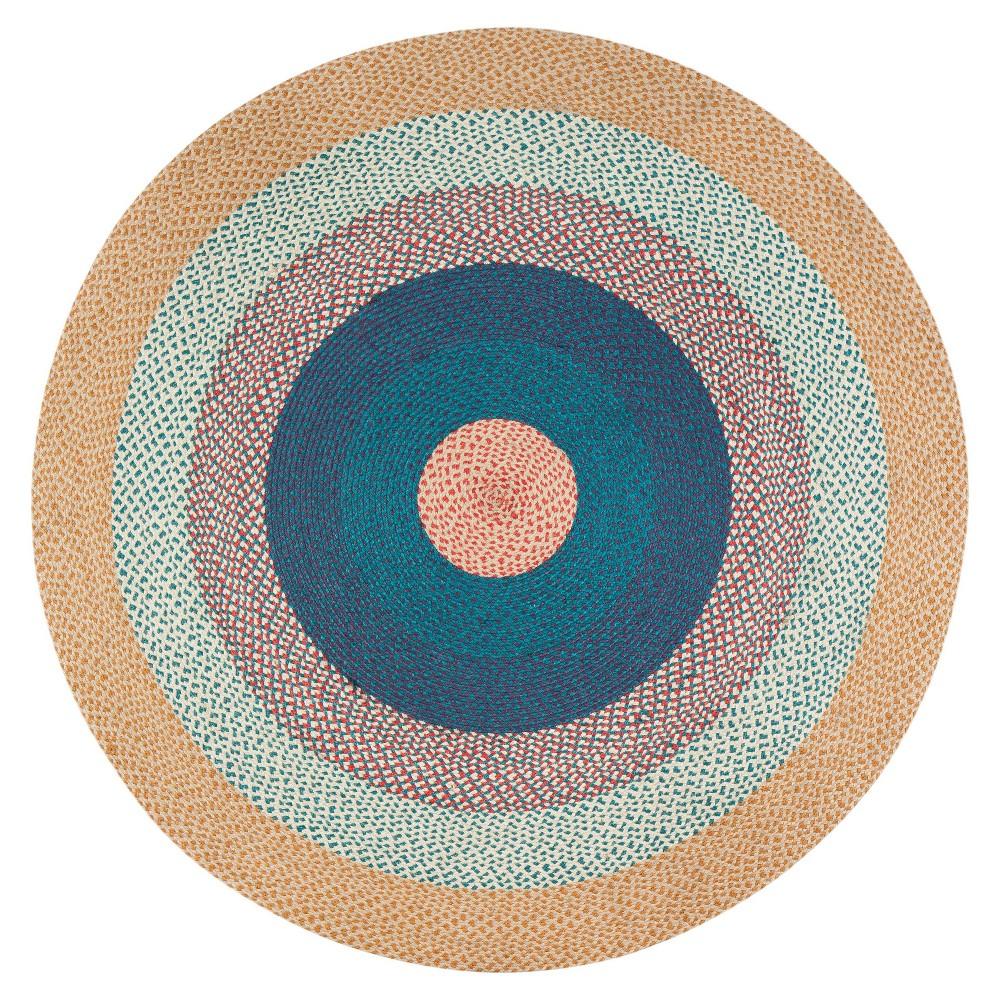 4' Round Blend Jute Rug Beige/Blue - Anji Mountain 4' Round Blend Jute Rug Beige/Blue - Anji Mountain Gender: unisex. Pattern: Shapes.
