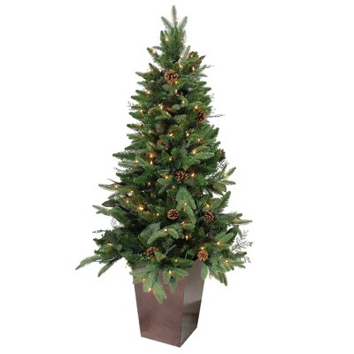 Northlight 5' PrelitArtificial Christmas Tree Medium Potted Mixed Winter Pine - Clear Lights