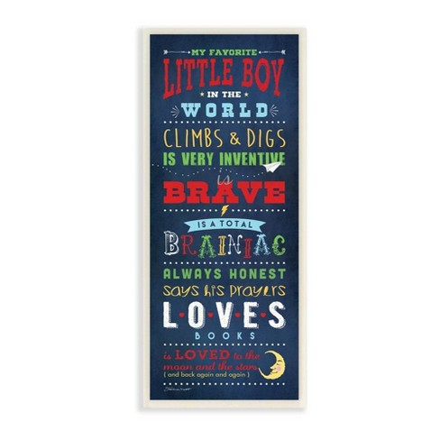 "7""x0.5""x17"" Favorite Little Boy In The World Wall Plaque Art Blue - Stupell Industries - image 1 of 2"