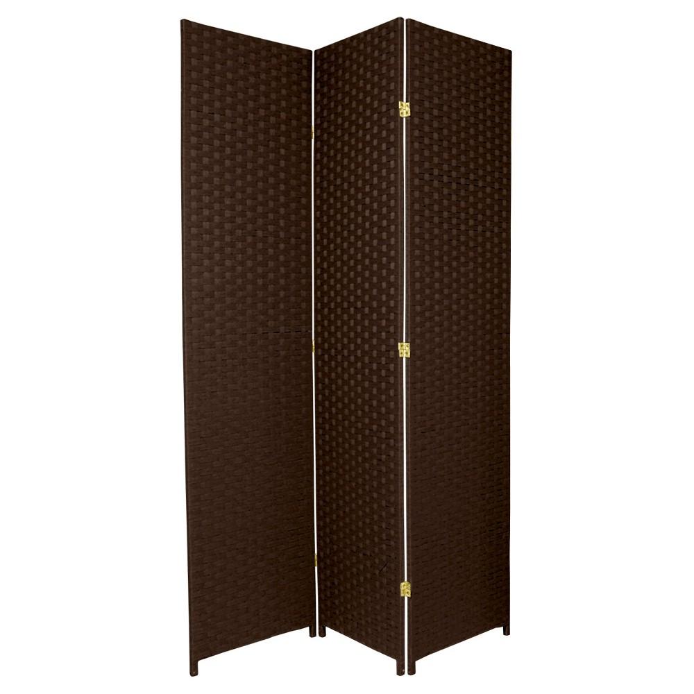 7 ft. Tall Woven Fiber Room Divider - Dark Mocha (3 Panels), Brown