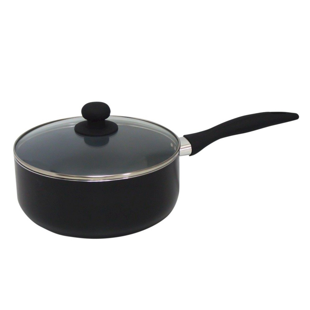 Image of Gourmet Chef 3 Fl Qt Eco Friendly Non Stick Ceramic Sauce Pan - Black