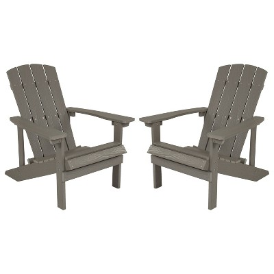 Merrick Lane Set of 2 Adirondack Patio Chairs With Vertical Lattice Back And Weather Resistant Frame