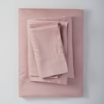King 400 Thread Count Washed Lyocell Solid Sheet Set Blush - Casaluna™
