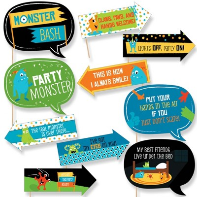 Big Dot of Happiness Funny Monster Bash - Little Monster Birthday Party or Baby Shower Photo Booth Props Kit - 10 Piece