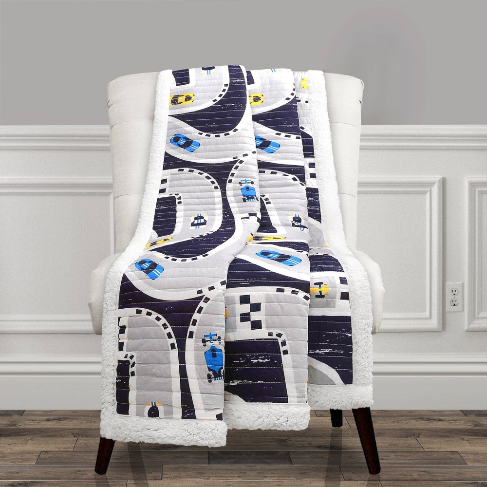 """Image of """"50""""""""x60"""""""" Full/Queen Sherpa Car Track Throw Blanket Navy - Lush Décor"""""""