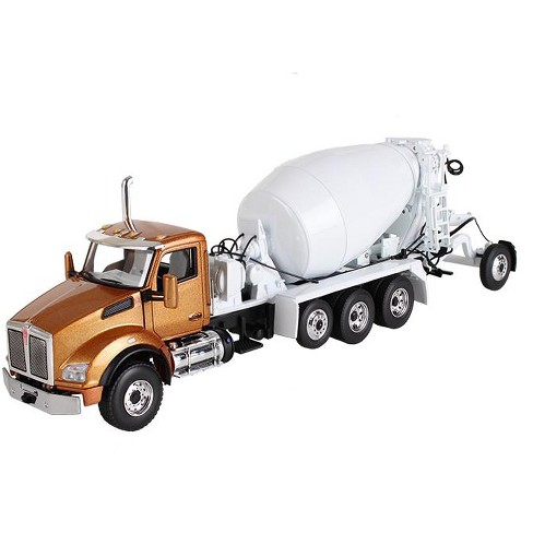 Kenworth T880 with Mcneilus Bridgemaster Mixer Aztec Gold / White 1/50 Diecast Model by First Gear - image 1 of 1
