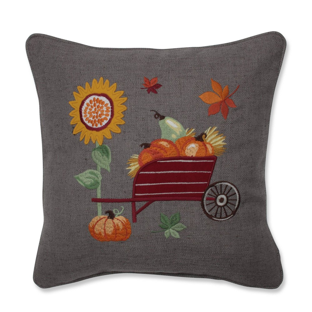 Image of Pumpkins/Sunflower and Wheelbarrow Embroidered Throw Pillow - Pillow Perfect, Yellow Orange Brown