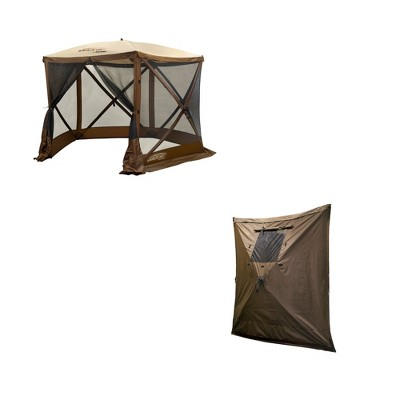 Clam PortableCanopy Shelter, Brown w/ Clam Quick Set Wind & Sun Panels (3 Pack)