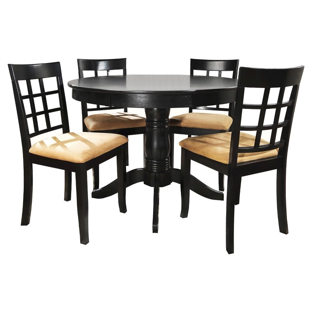 Image of Haskell 5-Piece Round Black Dining Set - Lattice Back Chair, Black Lattice Back