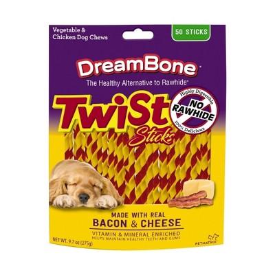 DreamBone Rawhide Free Twist Sticks Bacon & Cheese Dog Chews 50ct