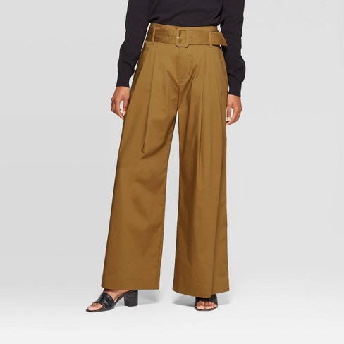 Women's Mid-Rise Wide Leg Pleated Pants - Who What Wear™ Green - image 1 of 3