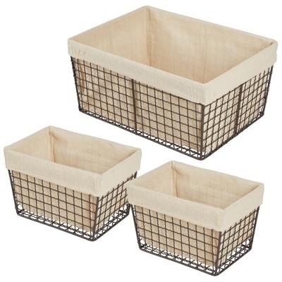 mDesign Home Kitchen Pantry Food Storage Basket Bin, 3 Pack - Bronze/Natural