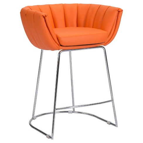 "Retro Faux Leather 25.6"" Counter Stool - Orange (Set of 2) - ZM Home - image 1 of 5"