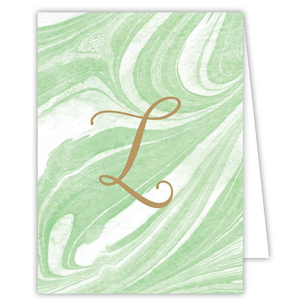 Marble Note Cards - Monogram L, Green L