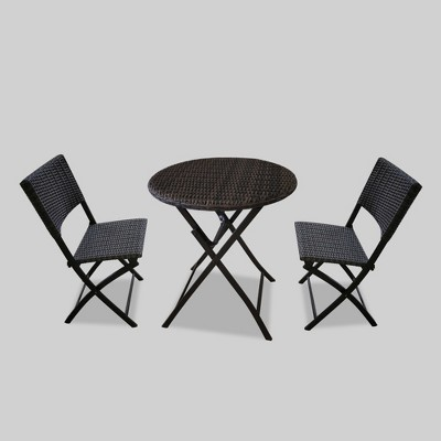 Remarkable Monroe 3Pc Folding Patio Bistro Set Brown Threshold Gmtry Best Dining Table And Chair Ideas Images Gmtryco