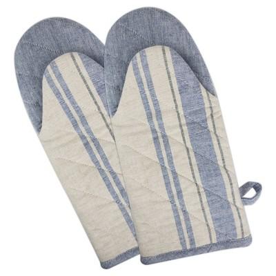 2pk Cotton French Striped Oven Mitts Blue - Design Imports