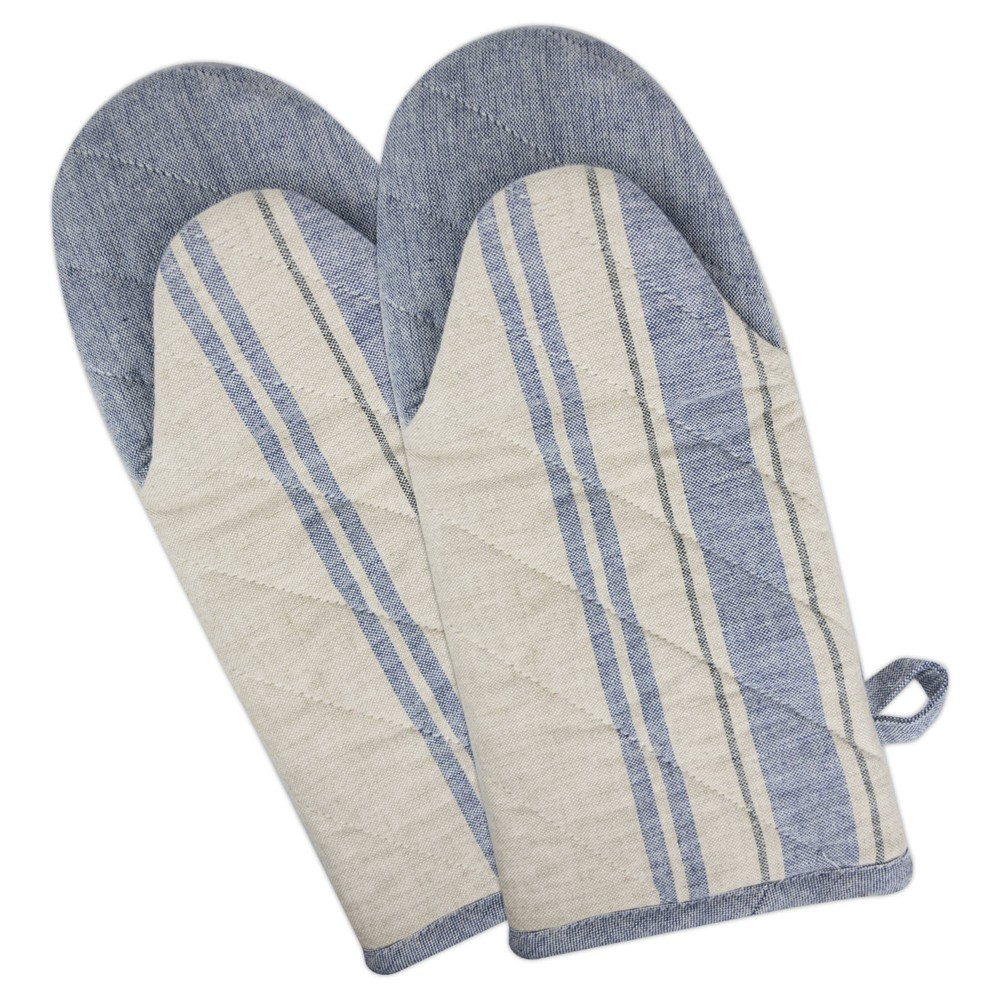 Image of 2pk Cotton French Striped Oven Mitts Blue - Design Imports