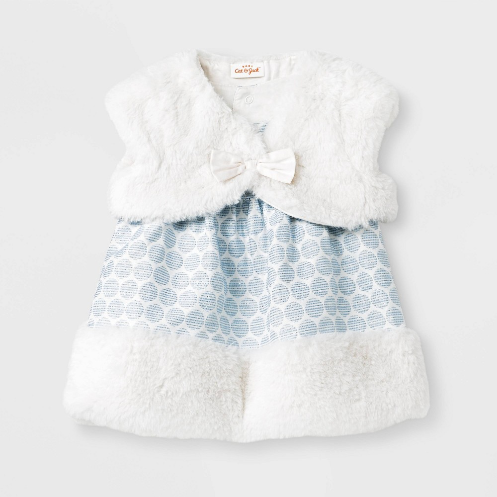 Image of Baby Girls' Jacquard Dress - Cat & Jack Blue/White 0-3M, Girl's