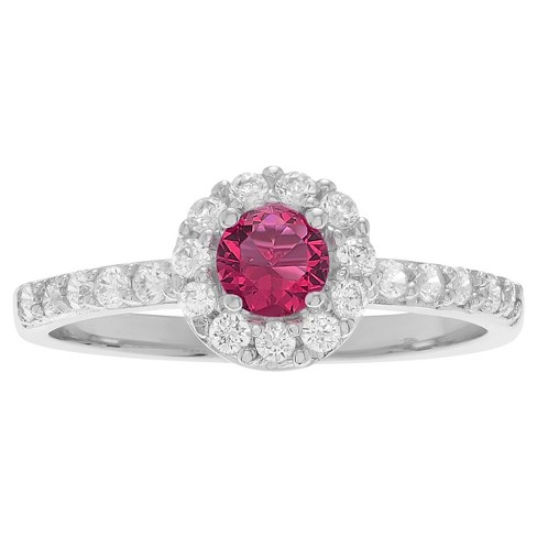 2/5 CT. T.W. Round-cut Garnet Cubic Zirconia Engagement Prong Set Ring in Sterling Silver - Red, 5 - image 1 of 2