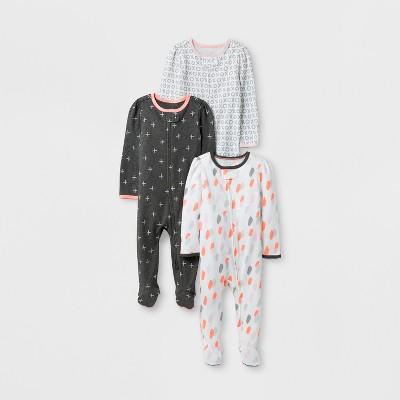 Baby Girls' 3pk Sleep N' Play Set Cloud Island™ - Gray/White 0-3M