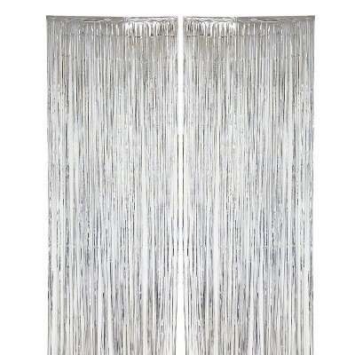 Blue Panda 2-pack Silver Foil Fringe Curtains - Metallic Tinsel Backdrop for Party Decorations (3 x 8 ft)