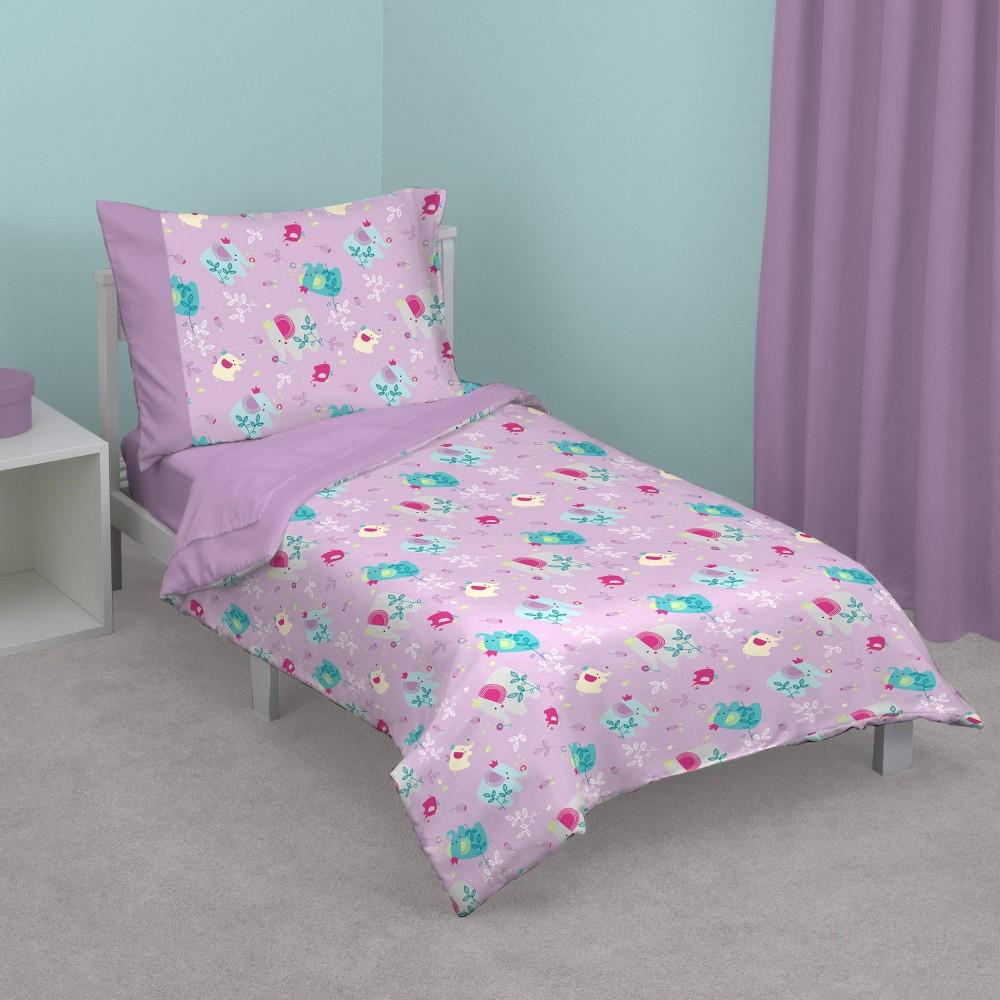 Image of NoJo 4pc Elephant Princess Toddler Bedding Set