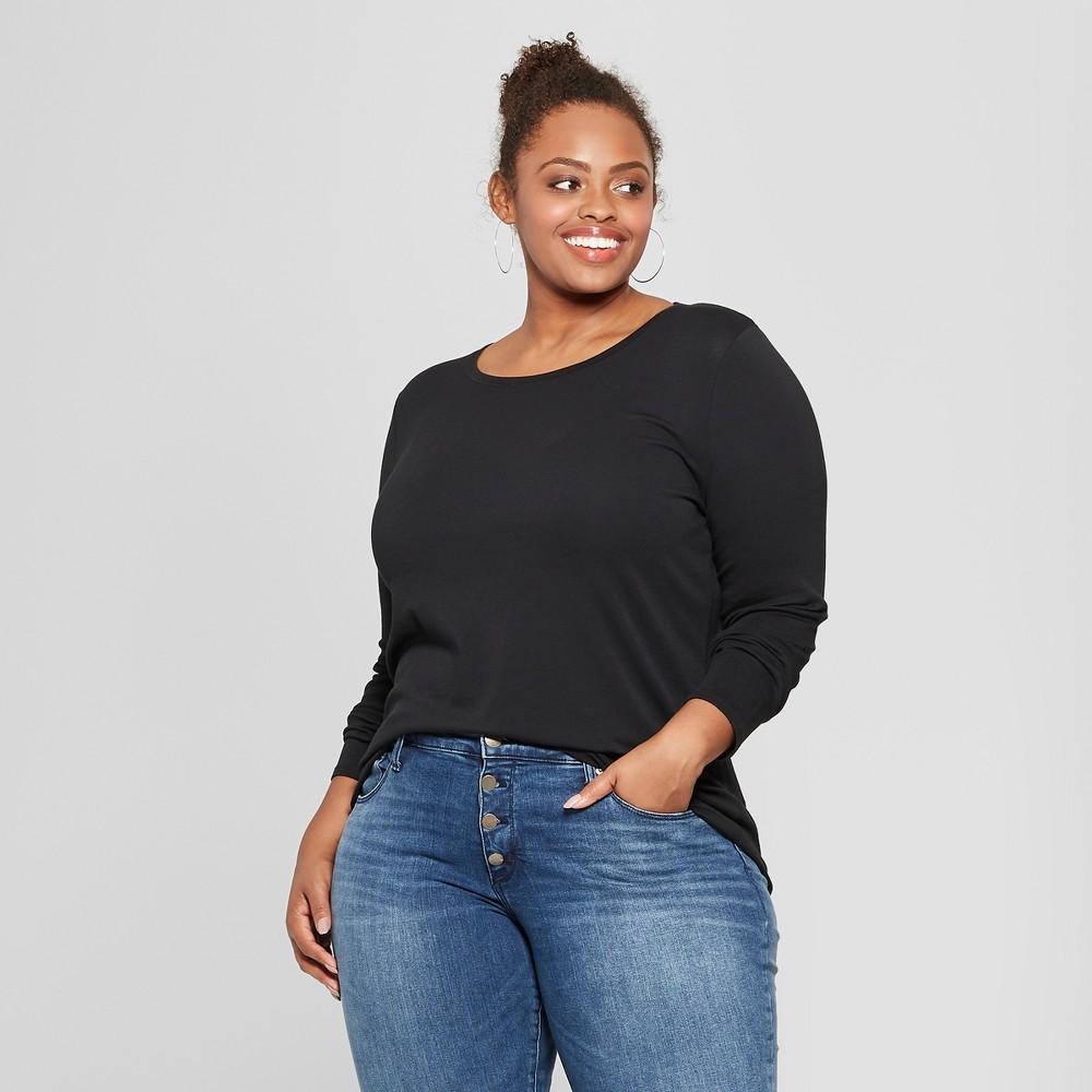 Women's Plus Size Crew Neck Long Sleeve T-Shirt - Ava & Viv Black 1X
