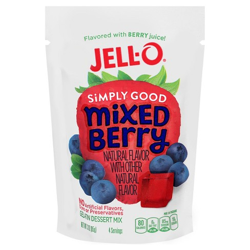 JELL-O Simply Good Mixed Berry Gelatin Dessert Mix - 3oz - image 1 of 1
